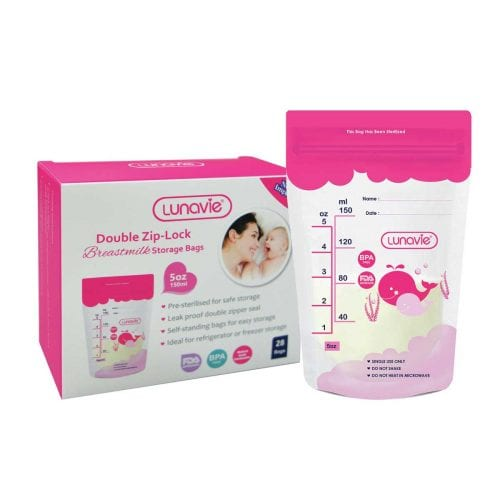 double zip-lock breast milk storage bag 5oz