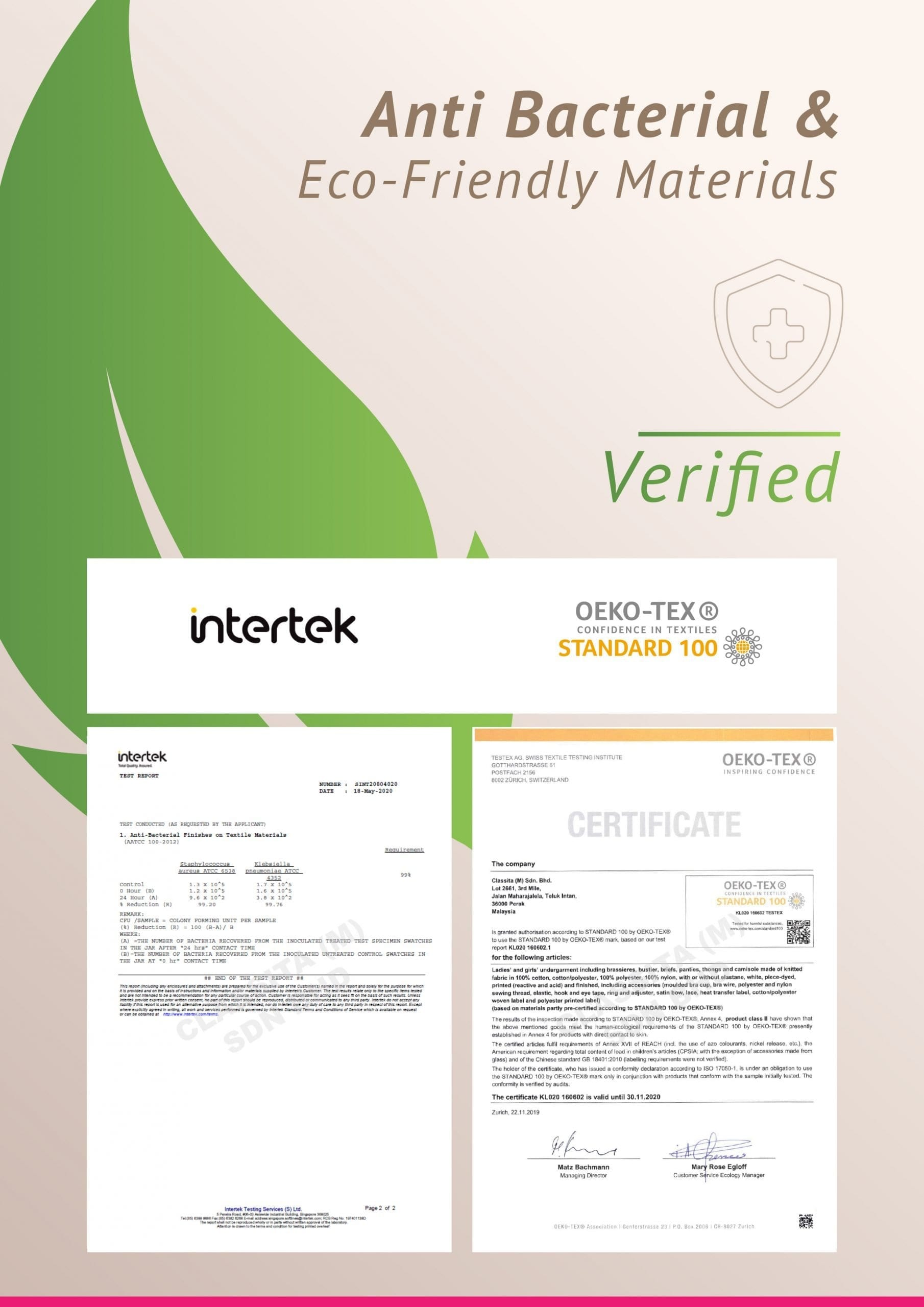 Intertek OEKA-TEX Certificate